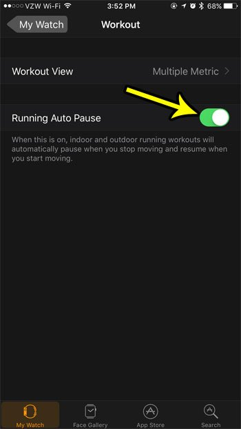 how to auto pause running workouts on apple watch