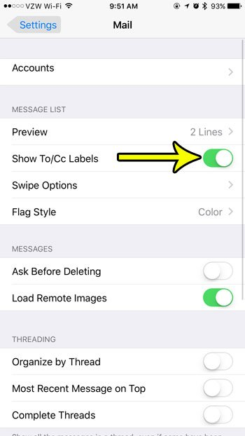 how to show to and cc labels in mail on an iphone