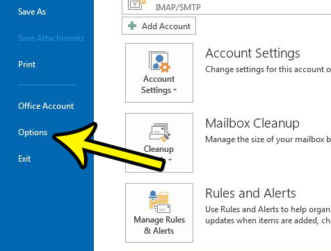 open the outlook options menu