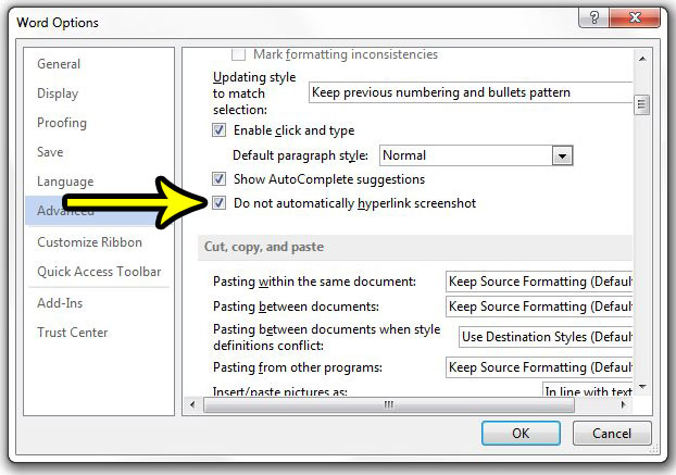how to stop hyperlinking screenshots in word 2013