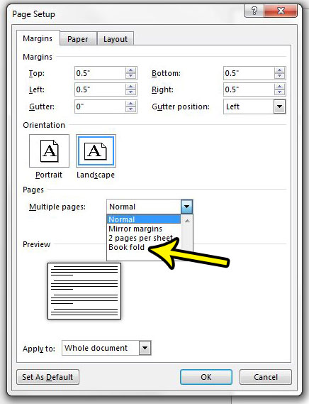 how to do bookfold printing in word 2013