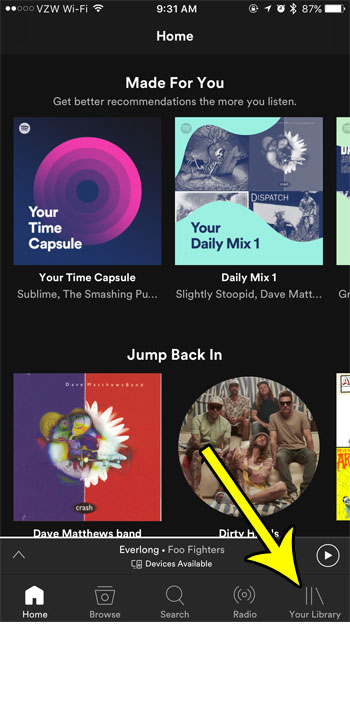 open your spotify library