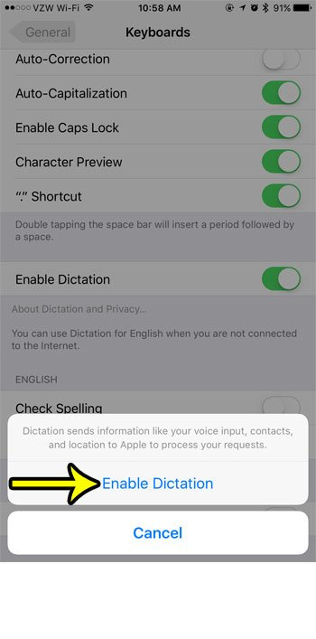 how to enable dictation on iphone 7