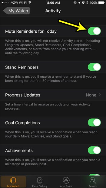 how to mute activity reminders for today