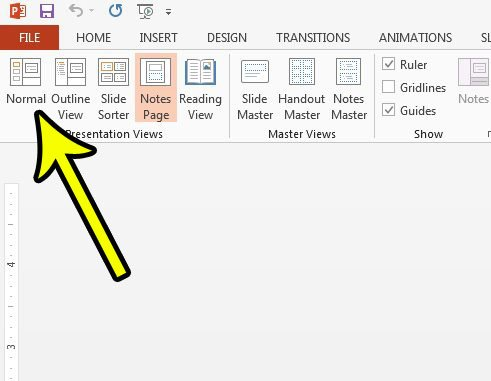 how to return to the normal view in powerpoint 2013