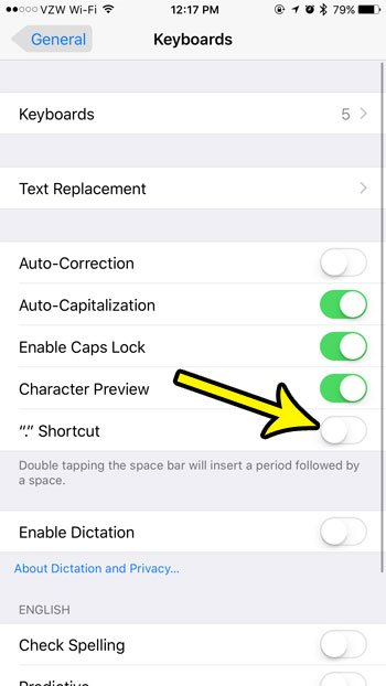 how turn off double spacebar shortcut iphone