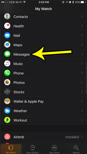 apple watch message settings