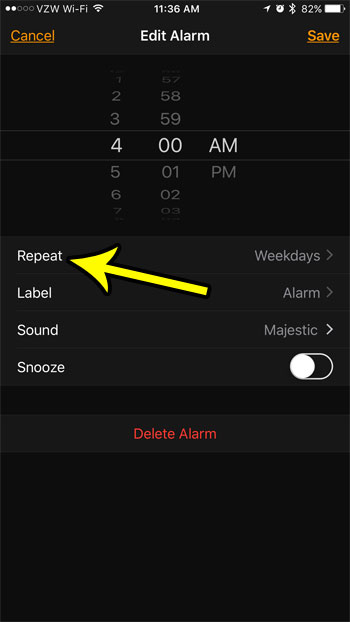 change repeat setting for iphone alarm