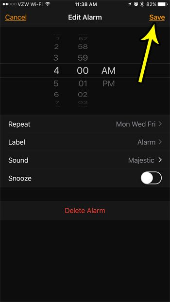how to change the alarm schedule on an iphone