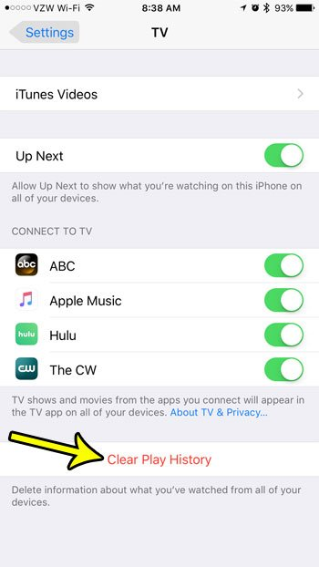 iphone tv clear play history