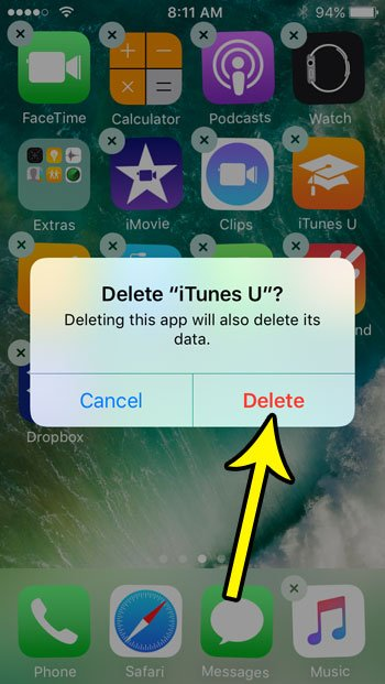 how to delete an app on the iphone se