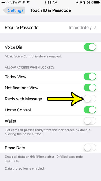 how to disable reply with message on the iphone lock screen