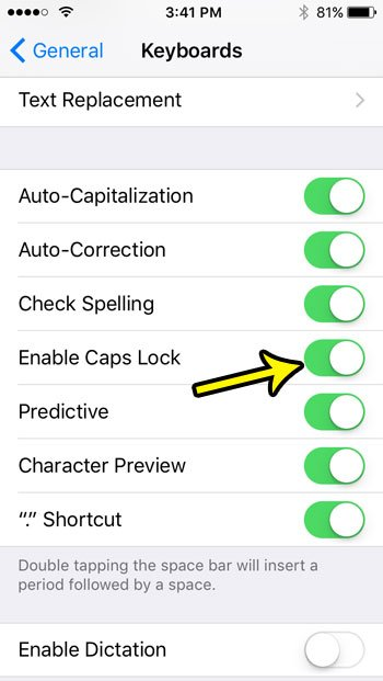 how to enable caps lock on an iphone se