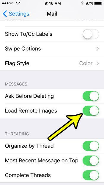 how to load remote images in email on an iphone se