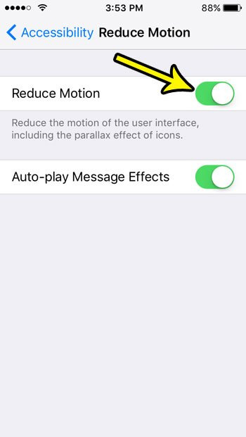 how to enable reduce motion on the iphone se