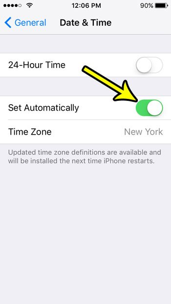 how to set time and date automatically on iphone se