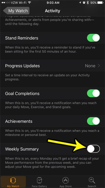 how to turn off weekly activity summary on apple watch
