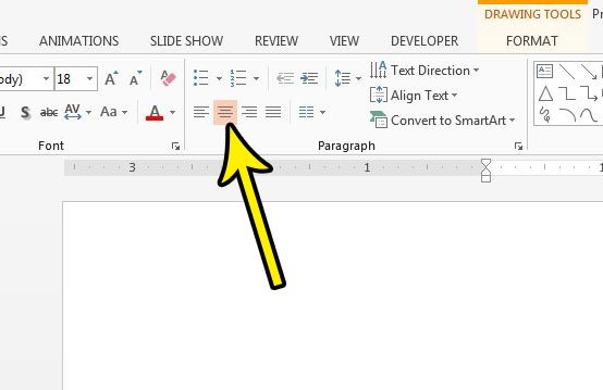 center text within a text box in powerpoint 2013