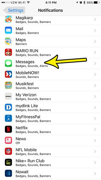 change notification settings for iphone messages app