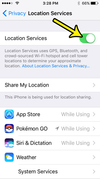 how to turn off iphone se location services