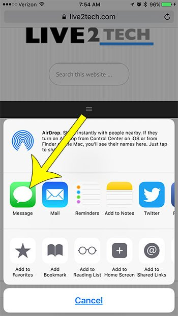 share link via text message on iphone