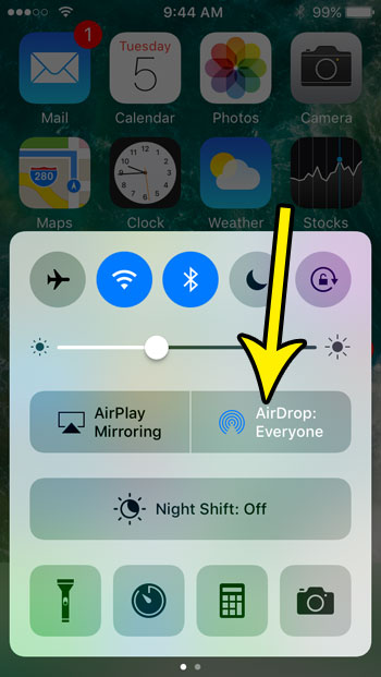 change iphone se airdrop setting