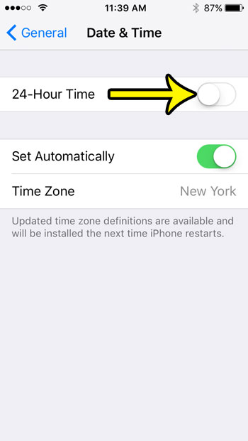 iphone se how to switch to 12 hour time format