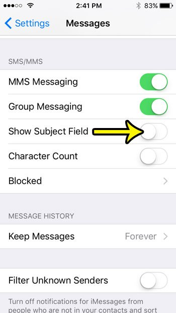 how to hide the subject field in messages on an iphone se