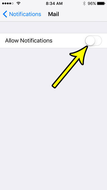 iphone se how to disable mail notifications