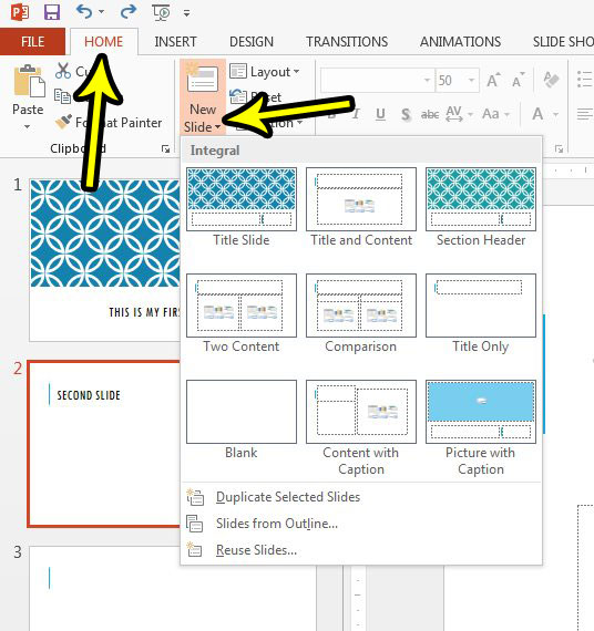 how to add a formatted slide in powerpoint 2013