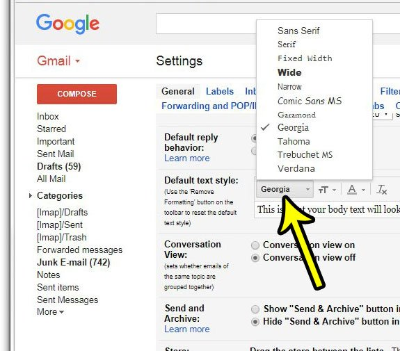 how to change the default font in gmail