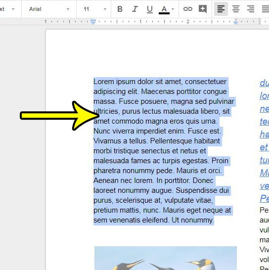 choose the text to change font size for