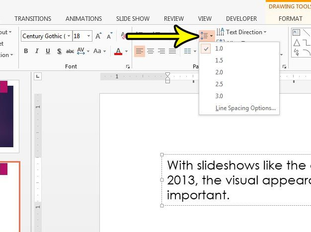 how to change text box line spacing in powerpoint 2013