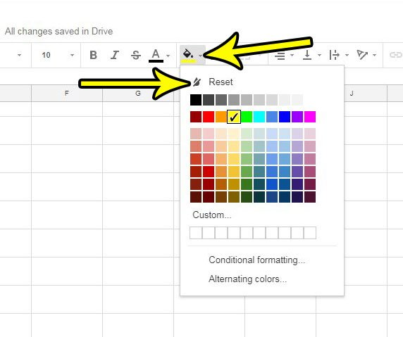 how to clear fill color in google sheets