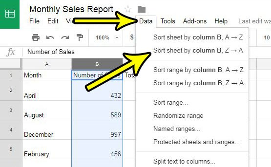 how to sort a column in google sheets