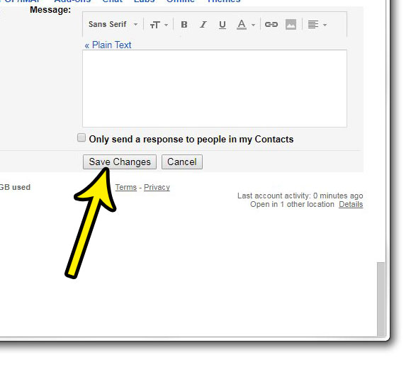 save changes to settings in gmail