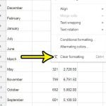 how to clear formatting in google sheets