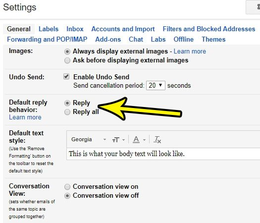 how to change default reply behavior in gmail