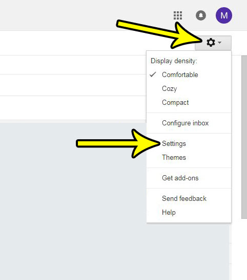 open the gmail settings menu
