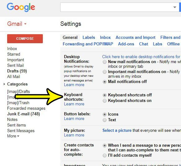 how to enable or disable keyboard shortcuts in gmail