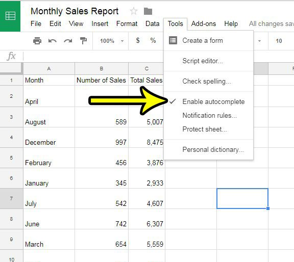how to disable autocomplete in google sheets