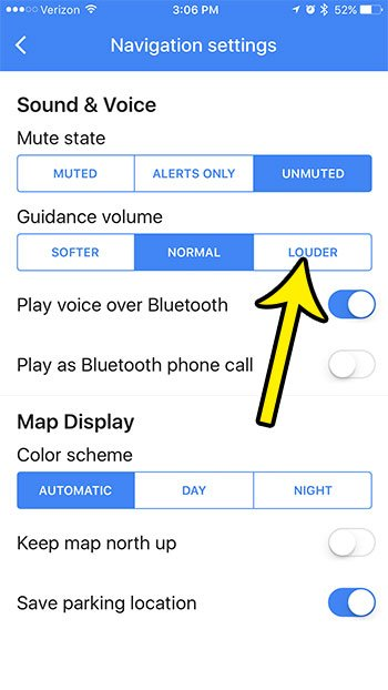 how change guidance volume google maps iphone