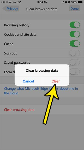 how to clear browsing data in the microsoft edge iphone app