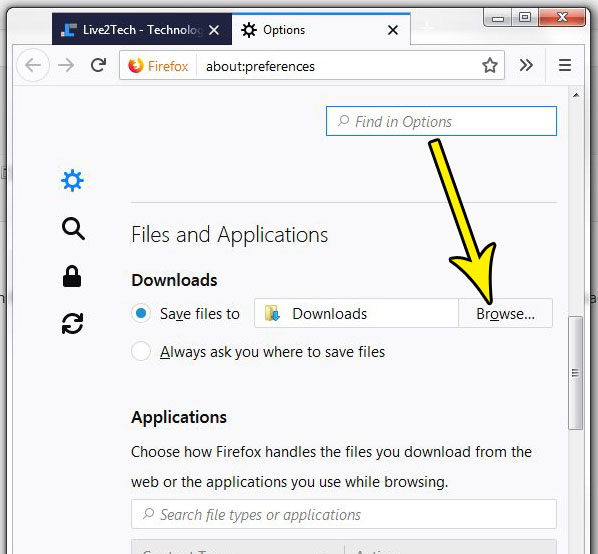 how to change the firefox downloads folder