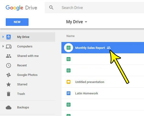 select the shared google sheets file