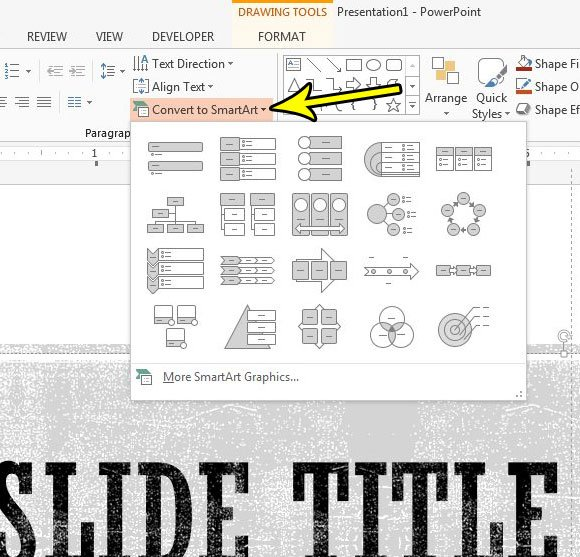how to create smartart in powerpoint 2013
