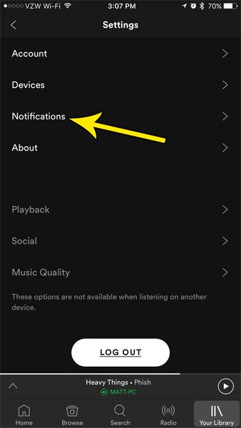 change iphone spotify notifications
