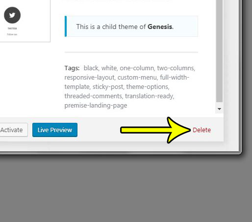 how to delete a theme in wordpress