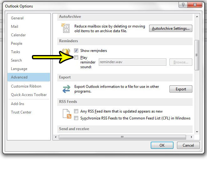how to disable the outlook 2013 reminder sound