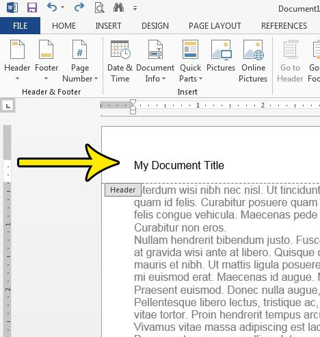 how to insert a document title at the top of every page in word 2013